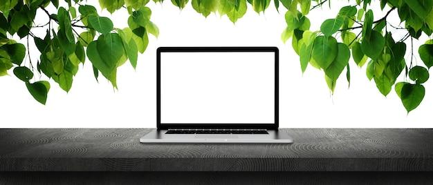 Laptop na betonowym stole z liściem bodhi