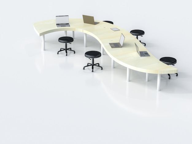 Laptop na biurko w miejscu pracy z miejsca kopiowania tekstu, renderowania 3d.