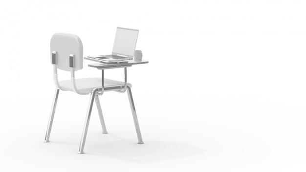 Laptop na krześle wykładowym