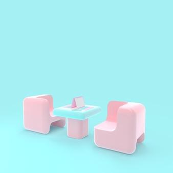 Laptop na stole różowy i niebieski pastelowy kolor