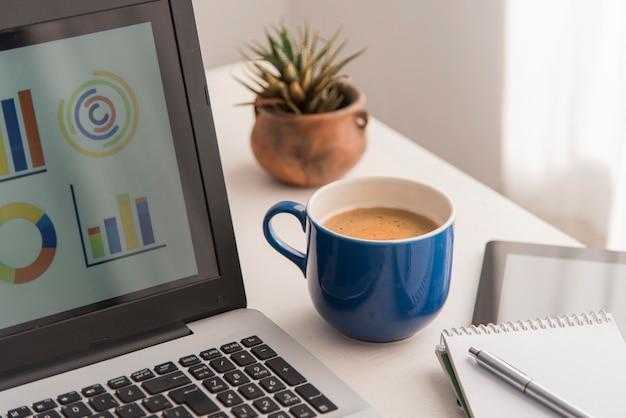 Laptop o wysokim kącie i kompozycja kawy