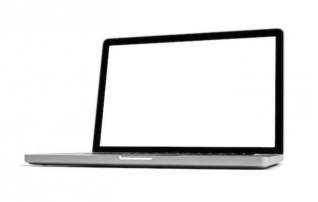 Laptop odizolowywający na bielu, ścinek ścieżka zawierać