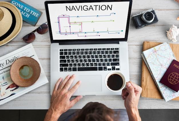 Laptop pokaż mapę kierunek trasy grafika