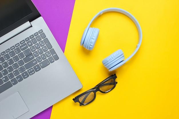 Laptop, słuchawki bezprzewodowe, okulary 3d