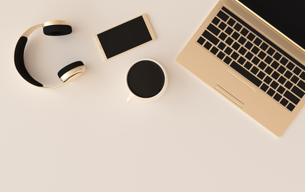 Laptop słuchawki telefoniczne filiżanki kawy renderowania