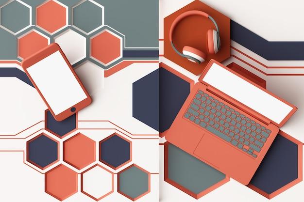 Laptop, smartfon i słuchawki z koncepcją technologii abstrakcyjna kompozycja geometrycznych kształtów platform w kolorze pomarańczowym i niebieskim. renderowanie 3d