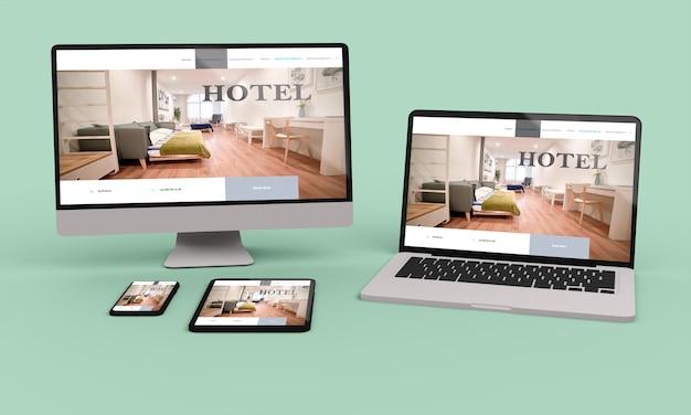 Laptop, telefon komórkowy i tablet renderowania 3d przedstawiający responsywny projekt sieci web hotelu. ilustracja 3d