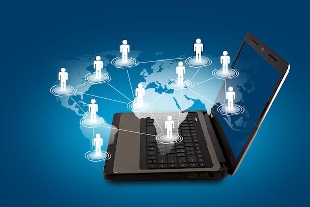 Laptop w którym znajduje się świat ludzi rysowane
