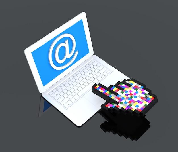 Laptop, wielokolorowa ręka kursora i znak e-mail
