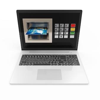 Laptop z bankomatem i kartą kredytową na białym tle