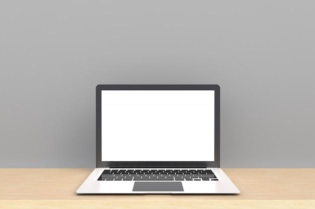Laptop z białym pustym ekranem