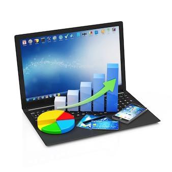 Laptop z biznesowym wykresem smartphone i karty kredytowe na białym tle