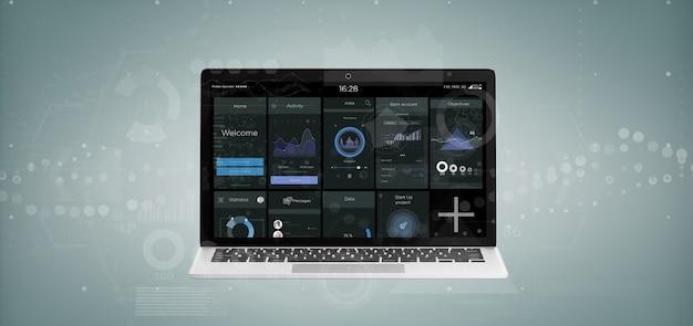 Laptop z danymi interfejsu użytkownika na ekranie na białym tle