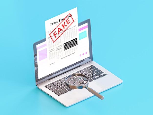 Laptop z fałszywymi wiadomościami i lupą