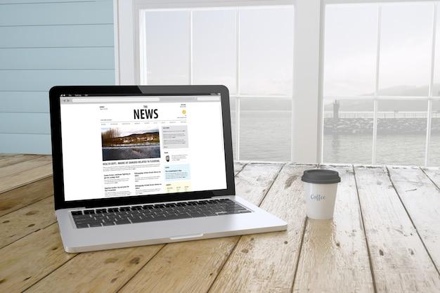 Laptop z kawą pokazujący aktualności na ekranie w pobliżu okna. renderowanie 3d.