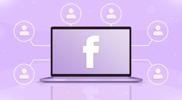 Laptop z logo facebooka na ekranie i ikonami użytkownika wokół 3d