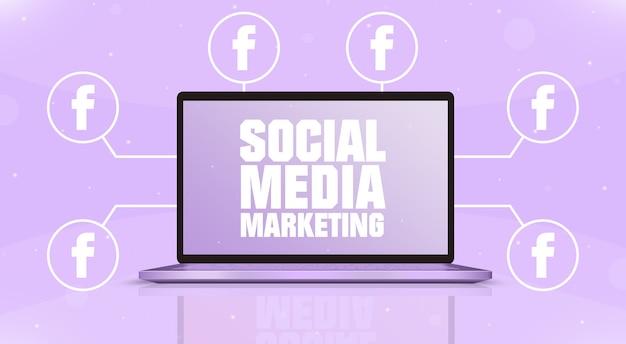 Laptop z marketingiem w mediach społecznościowych na ekranie i ikonami logo facebooka wokół 3d
