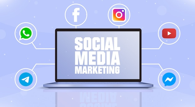 Laptop z marketingiem w mediach społecznościowych na ekranie i ikonami logo mediów społecznościowych wokół 3d