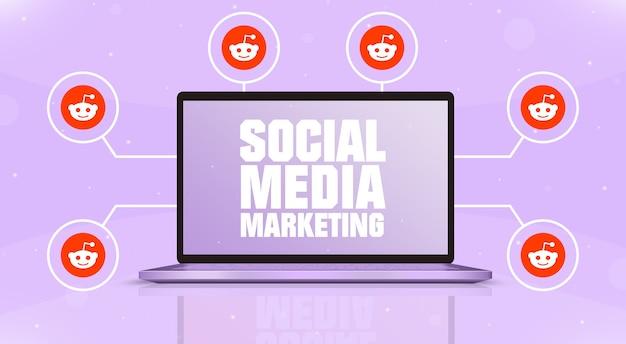 Laptop z marketingiem w mediach społecznościowych na ekranie i ikonami logo reddit wokół 3d