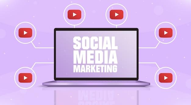 Laptop z marketingiem w mediach społecznościowych na ekranie i ikonami logo youtube wokół 3d