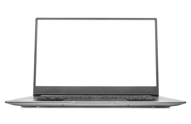 Laptop z pustym ekranem na białym tle aluminiowy korpus laptop biała szara makieta