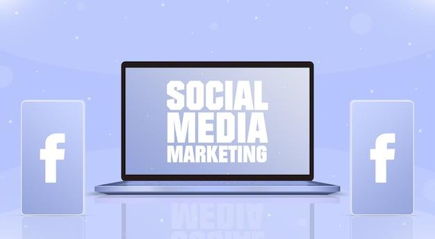 Laptop z smm na ekranie i dwa telefony z ikoną logo facebook na ekranach 3d