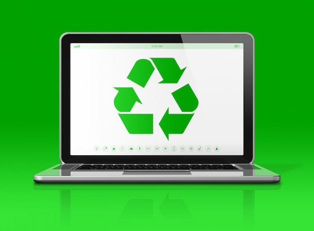 Laptop z symbolem recyklingu na ekranie.