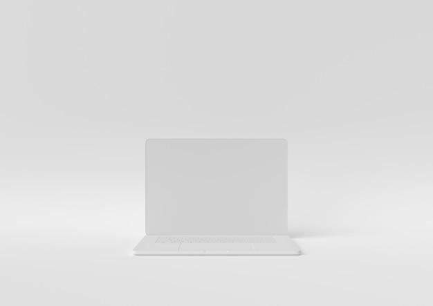 Laptopa biały kolor z kopii przestrzenią dla twój teksta, minimalny pojęcie 3d odpłaca się, ilustracja.