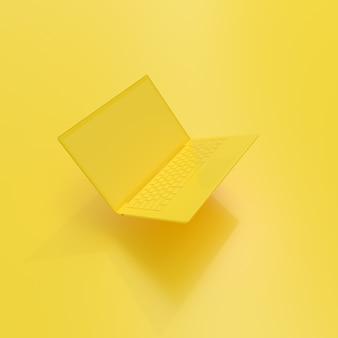 Laptopa tło z pustego ekranu koloru żółtego.