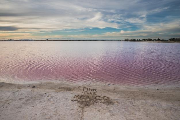 Las coloradas, słone różowe jezioro w pobliżu rio lagartos na jukatanie w meksyku