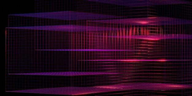 Laserowa siatka fioletowa poświata czerwona i niebieska ilustracja 3d