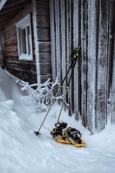 Laska i rakiety śnieżne przy drewnianej ścianie ajd