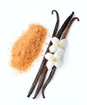 Laski waniliowe i cukier waniliowy na białym tle.