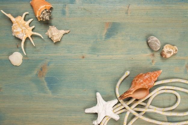 Lata tło na drewnie z seashell i arkaną, kopii przestrzeń