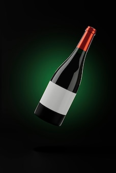 Latająca butelka czerwonego wina na ciemnym tle