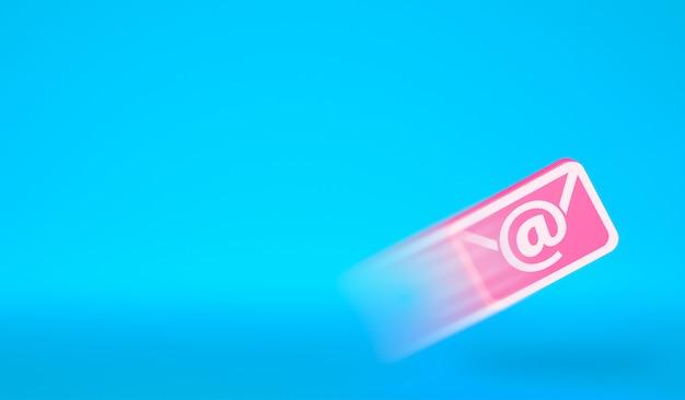 Latająca ikona e-maila. wysyłanie wiadomości e-mail