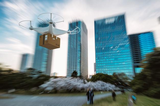 Latająca przesyłka paczki dronem uav z autonomicznym przewodnikiem