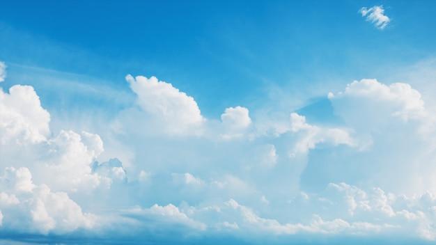 Latające białe puszyste chmury cumulus