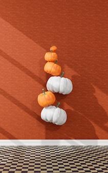 Latające dynie. dekoracja halloween. renderowanie 3d.