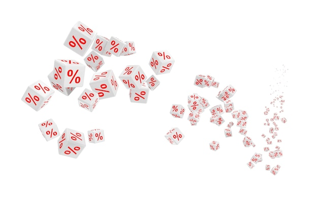 Latające kostki białe procent sprzedaży na białym tle. renderowanie 3d.