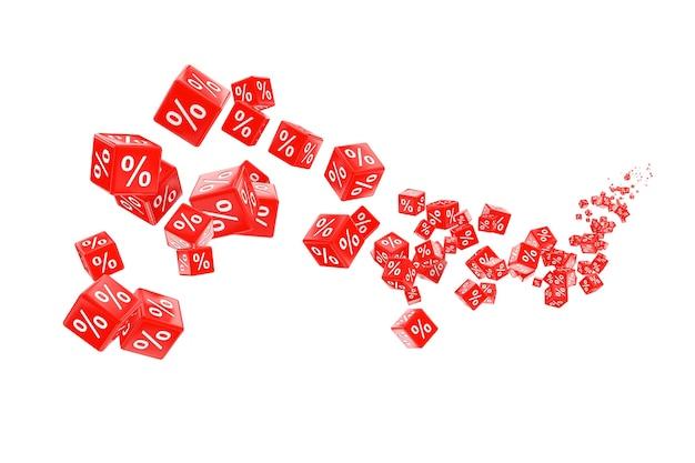 Latające kostki czerwone procent sprzedaży na białym tle. renderowanie 3d.