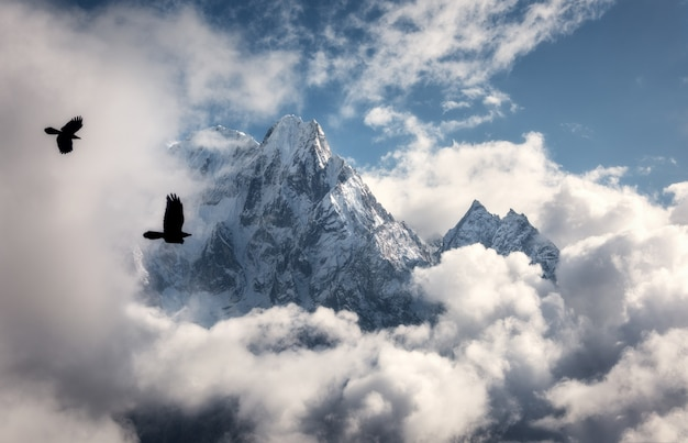 Latające ptaki przed majestatyczną górą manaslu z ośnieżonym szczytem w chmurach