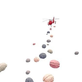 Latający helikopter wykorzystuje mózgi. renderowania 3d. nikogo w pobliżu.