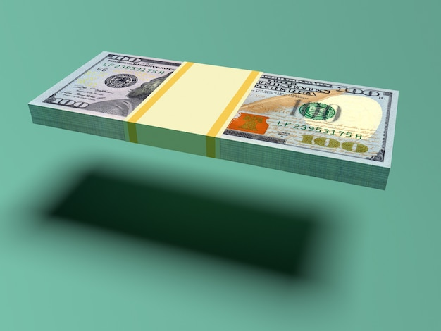 Latający pakiet dolarów z cieniem. koncepcja finansów i biznesu