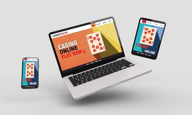 Latający tablet, telefon i laptop. casino online