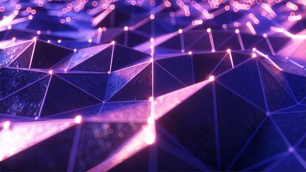 Latanie nad krajobrazem płaskorzeźby w retro futurystycznym stylu z neonową siatką i świecącymi sferami
