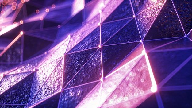 Latanie nad krajobrazem płaskorzeźby w retro futurystycznym stylu z neonową siatką i świetlistą sferą