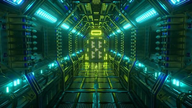 Latanie w tunelu statku kosmicznego, korytarz wahadłowca sci-fi. futurystyczna technologia abstrakcyjna. technologia i koncepcja przyszłości. migające światło. ilustracja 3d