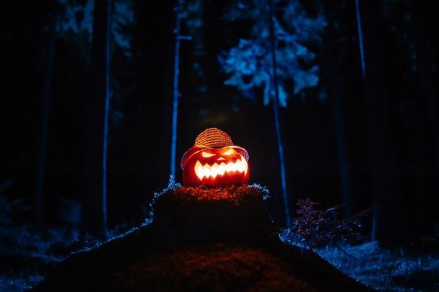 Latarnia na halloween z dyni z buzią w ponurym niebieskim lesie na zgniłym...