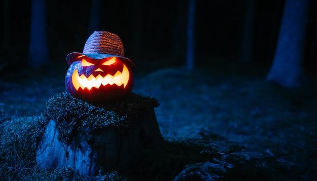 Latarnia na uczcie horrorów z głową w ponurym niebieskim tle halloweenowego lasu